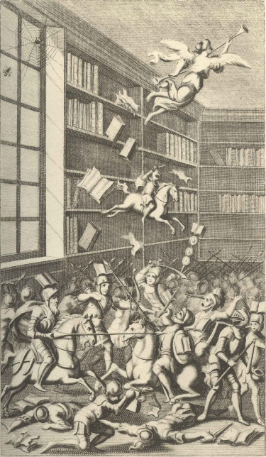 Woodcut from Jonathan Swift's Battle of the Books