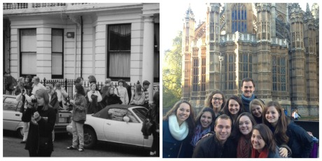 Samford students outside the Daniel House in 1997 and Samford students in London, Fall 2013. Photographs courtesy of Marlene Rikard and Blakely Lloyd.