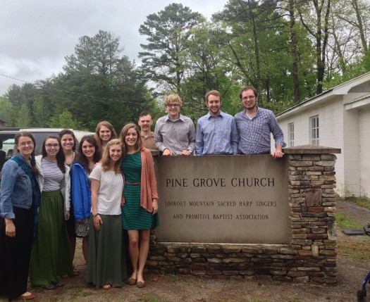 Spring 2015 Folklore students at Pine Grove Church for Sacred Harp singing.