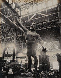 V0038325 Statue of Vulcan at the 1904 World's Fair St. Louis, Missouri Credit: Wellcome Library, London. Wellcome Images images@wellcome.ac.uk http://wellcomeimages.org The 1904 World's Fair, St. Louis, Missouri: Vulcan, the Roman god of the forge: a 56 foot high statue in the Palace of Mines and Metallurgy. Cast iron statue by Giuseppe Moretti, ca. 1904 1904 1904 World's Fair (or Louisiana Purchase Exposition), St. Louis. Published: - Copyrighted work available under Creative Commons Attribution only licence CC BY 4.0 http://creativecommons.org/licenses/by/4.0/