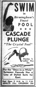 Local advertisement for the Cascade Plunge Pool, 1946