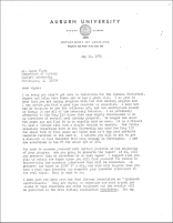 A letter sent to Dr. Wayne Flynt in 1973 from the Auburn University Department of Archives, detailing how to start an oral history program and which recorders are the best for the job
