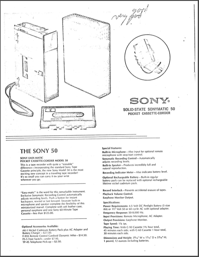"A description of the Sony 50, which Dr. Allen Jones deemed, ""Good. Very good."""