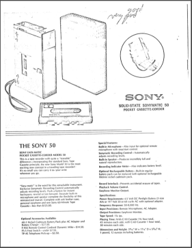"A description of the Sony 50, which Dr. Allen Jones deemed, ""Good. Very good."""