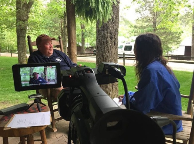 J. T. Dabbs during his interview with Keely Smith. Most interviews were conducted on the front porch of one of the original cabins in Camp Alpine.