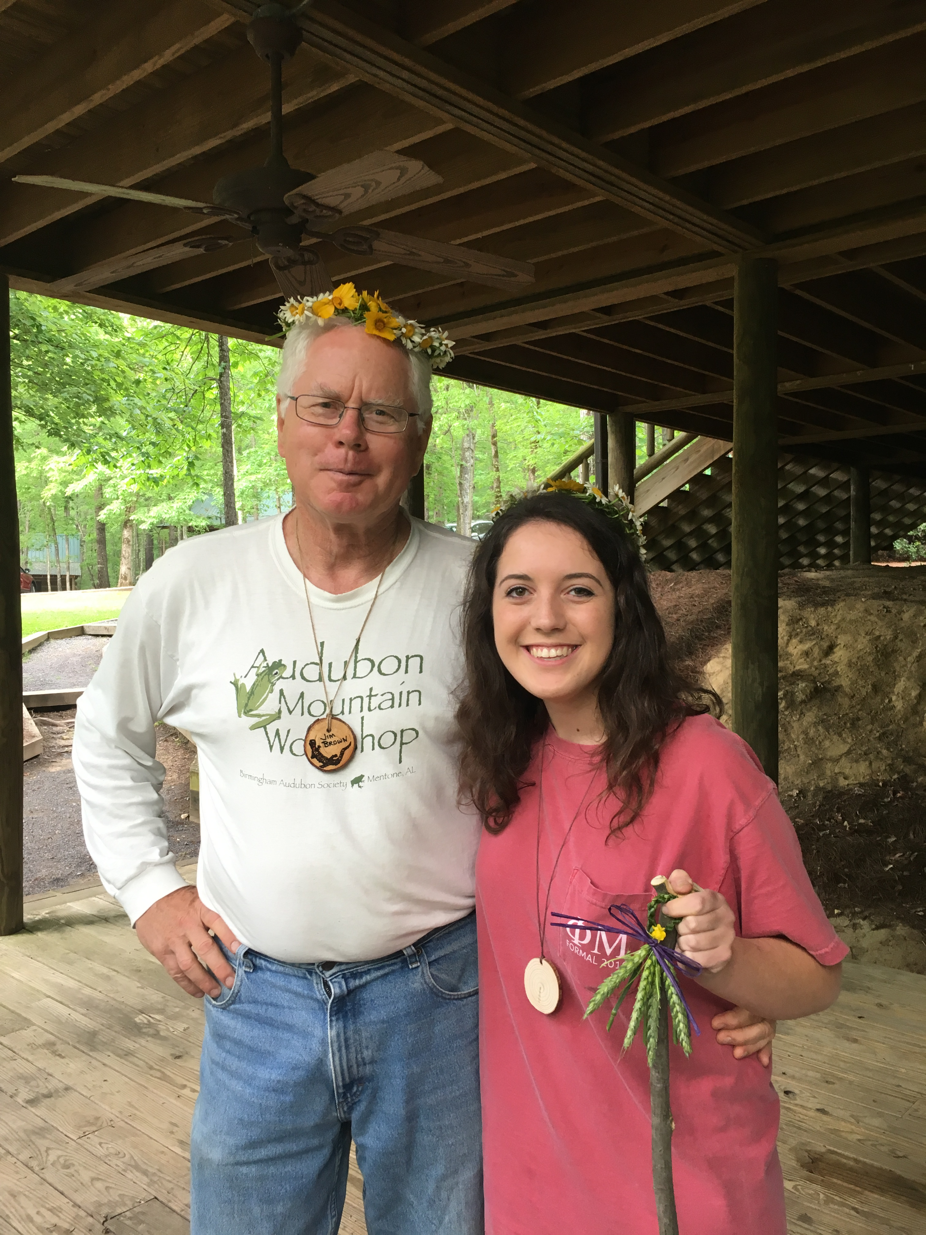 Dr. Jim Brown, who led this project, with student interviewer Keely Smith after his folklore class at the workshop.